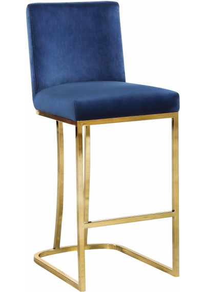 Blue Velvet Curved Stool Gold Base