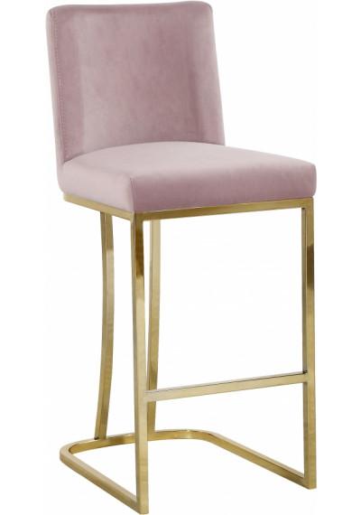 Blush Pink Velvet Curved Stool Gold Base