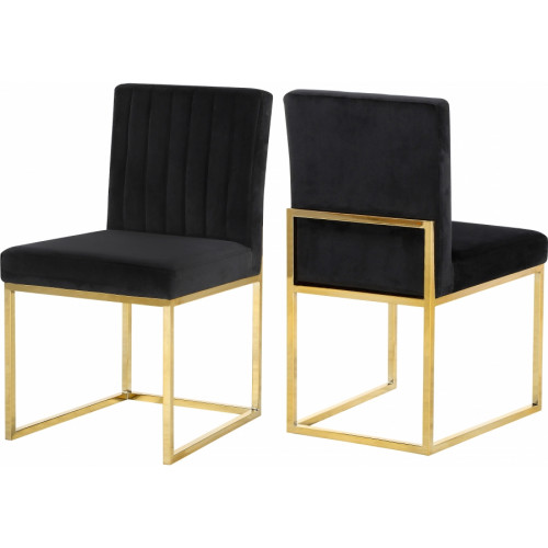 Black Velvet Accent Armless Dining Chair Channel Tufting Set of 2