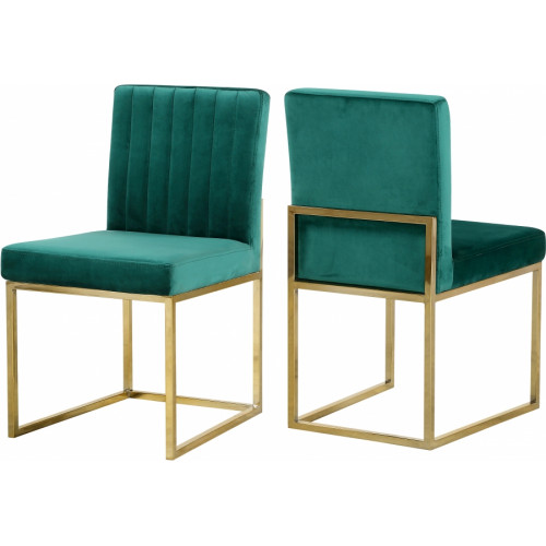Green Velvet Accent Armless Dining Chair Channel Tufting Set of 2