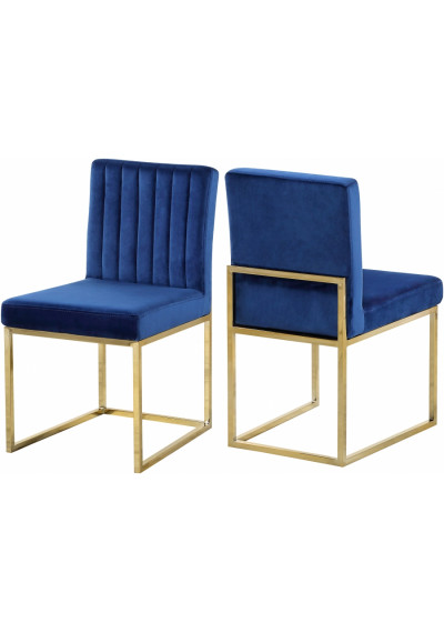 Blue Velvet Accent Armless Dining Chair Channel Tufting Set of 2