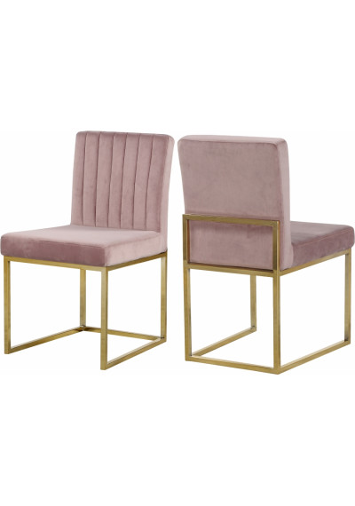 Blush Pink Velvet Accent Armless Dining Chair Channel Tufting Set of 2
