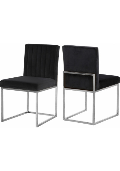 Black Velvet Accent Armless Dining Chair Silver Channel Tufting Set of 2