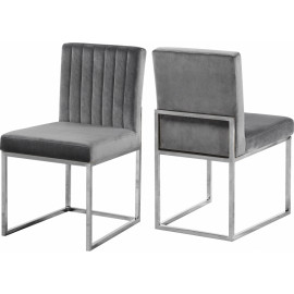 Grey Velvet Accent Armless Dining Chair Silver Channel Tufting Set of 2