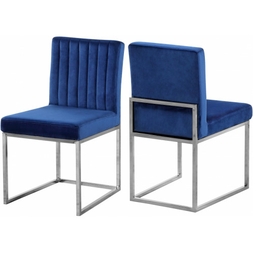 Blue Velvet Accent Armless Dining Chair Silver Channel Tufting Set of 2