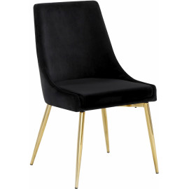 Black Velvet Gold Toothpick Leg Accent Side Chair Set of 2