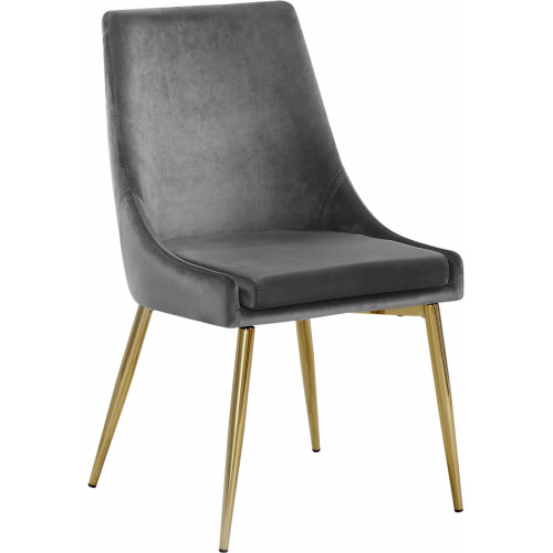 Grey Velvet Accent Side Chair Set of 2