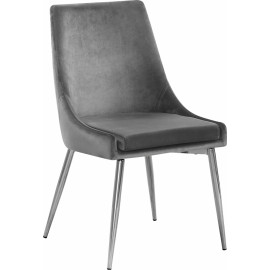 Grey Velvet Accent Chair Silver Toothpick Legs Set of 2
