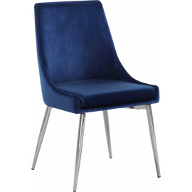 Blue Velvet Accent Chair Silver Toothpick Legs Set of 2