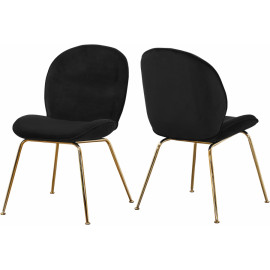 Black Velvet Mid Century Accent Dining Chair Gold Legs Set of 2
