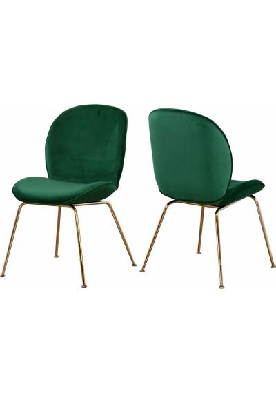 Green Velvet Mid Century Accent Dining Chair Gold Legs Set of 2