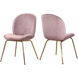 Blush Pink Velvet Mid Century Accent Dining Chair Gold Legs Set of 2