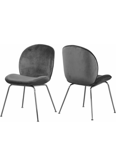 Grey Velvet Mid Century Accent Dining Chair Silver Legs Set of 2
