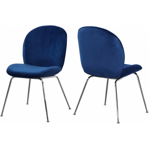 Blue Velvet Mid Century Accent Dining Chair Silver Legs Set of 2