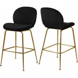 Black Velvet Mid Century Counter Stool Gold Legs Set of 2