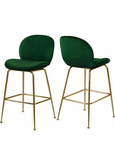 Green Velvet Mid Century Counter Stool Gold Legs Set of 2