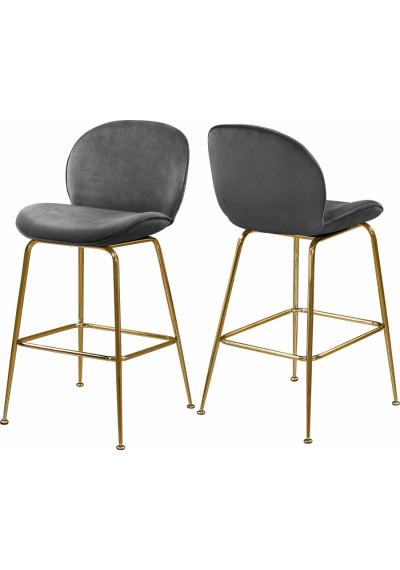 Grey Velvet Mid Century Counter Stool Gold Legs Set of 2