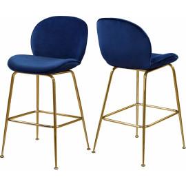 Blue Velvet Mid Century Counter Stool Gold Legs Set of 2