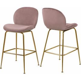 Blush Pink Velvet Mid Century Counter Stool Gold Legs Set of 2
