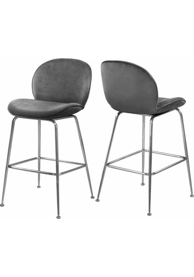 Grey Velvet Mid Century Counter Stool Silver Legs Set of 2