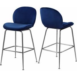 Blue Velvet Mid Century Counter Stool Silver Legs Set of 2