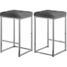 Grey Velvet Tufted Backless Counter Stool Chrome Base Set 2