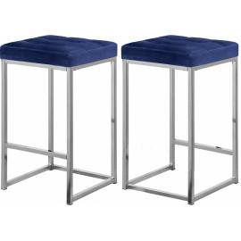 Blue Velvet Tufted Backless Counter Stool Chrome Base Set 2