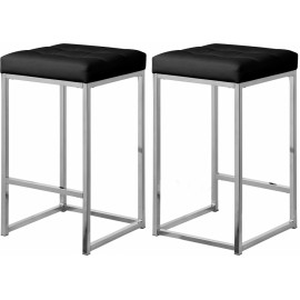 Black Faux Leather Tufted Backless Counter Stool Chrome Base Set 2