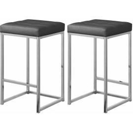 Grey Faux Leather Tufted Backless Counter Stool Chrome Base Set 2