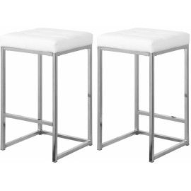 White Faux Leather Tufted Backless Counter Stool Chrome Base Set 2