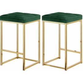 Green Velvet Tufted Backless Counter Stool Gold Base Set 2