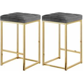 Grey Velvet Tufted Backless Counter Stool Gold Base Set 2