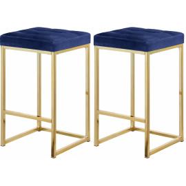 Blue Velvet Tufted Backless Counter Stool Gold Base Set 2