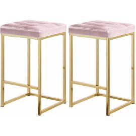 Pink Velvet Tufted Backless Counter Stool Gold Base Set 2