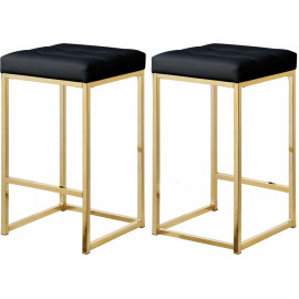 Black Faux Leather Tufted Backless Counter Stool Gold Base Set 2