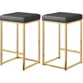 Grey Faux Leather Tufted Backless Counter Stool Gold Base Set 2