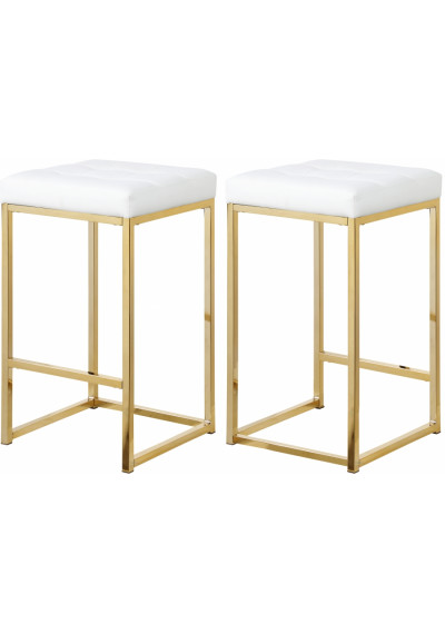 White Faux Leather Tufted Backless Counter Stool Gold Base Set 2