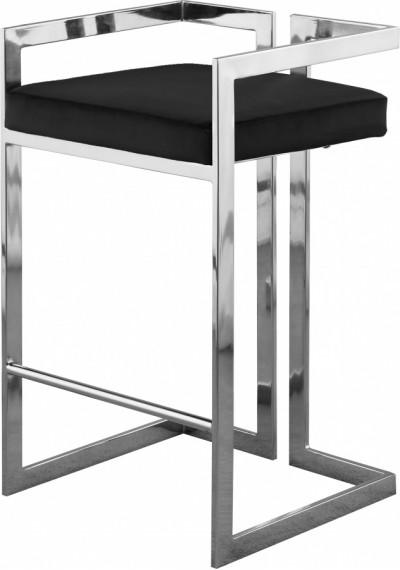 Black Velvet Seat Counter Stool Chrome Angular Body