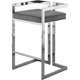 Grey Velvet Seat Counter Stool Chrome Angular Body