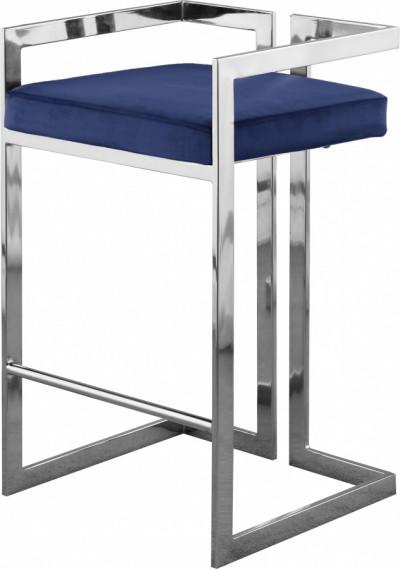 Blue Velvet Seat Counter Stool Chrome Angular Body