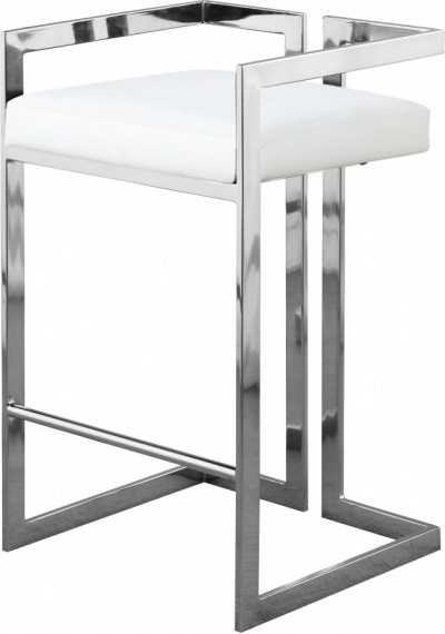 White Faux Leather Seat Counter Stool Chrome Angular Body