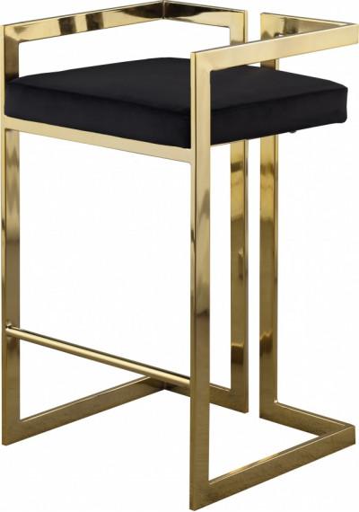 Black Velvet Seat Counter Stool Gold Angular Body