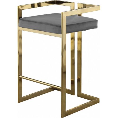 Grey Velvet Seat Counter Stool Gold Angular Body