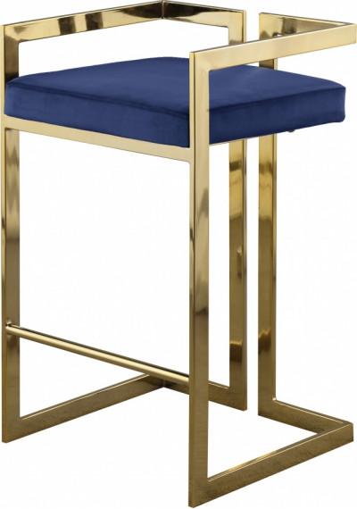 Blue Velvet Seat Counter Stool Gold Angular Body