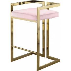 Pink Velvet Seat Counter Stool Gold Angular Body