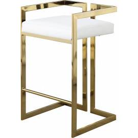 White Faux Leather Seat Counter Stool Gold Angular Body