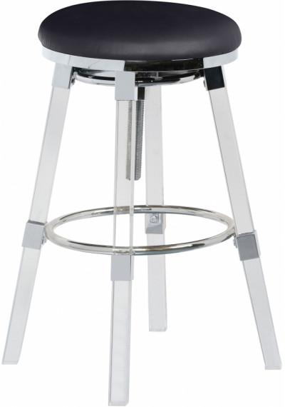 Acrylic Legs Black Seat Adjustable Stool Chrome Accents Set 2