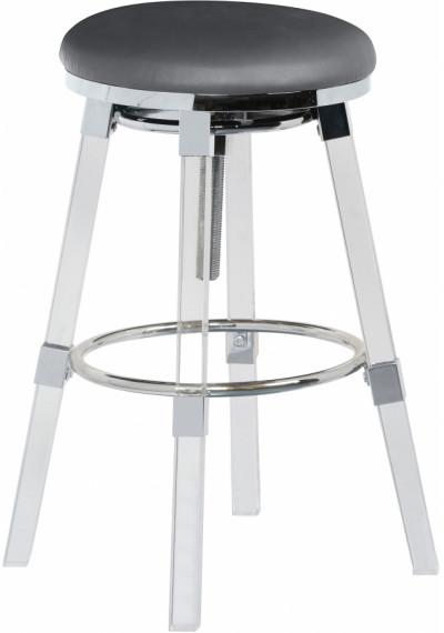 Acrylic Legs Grey Seat Adjustable Stool Chrome Accents Set 2