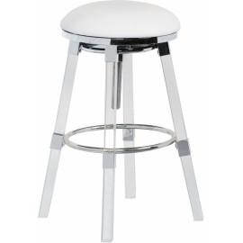 Acrylic Legs White Seat Adjustable Stool Chrome Accents Set 2