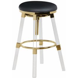 Acrylic Legs Black Seat Adjustable Stool Gold Accents Set 2